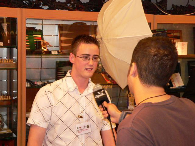 Dan being interviewed for radio