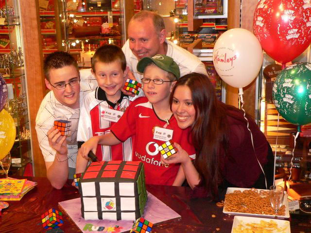 Myself and Dan with Duncan (former one-hand-solve record holder) and Duncan's kids