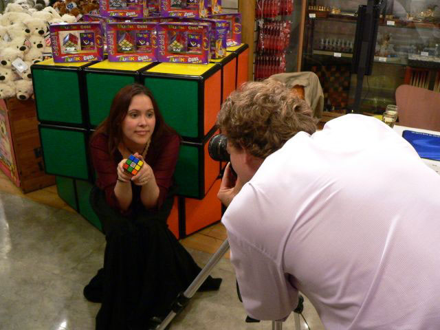 Jasmine and the giant Rubik's Cubes