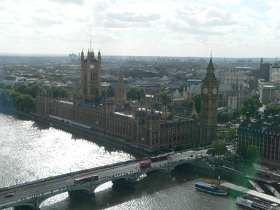 Photo of London city, looking in the direction of the Houses of Parliament and Big Ben
