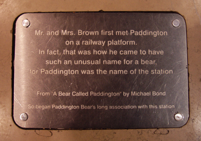 Mr and Mrs Brown first met Paddington on a railway playform. In fact, that was how he came to have such an unusual name for a bear, for Paddington was the name of the station.